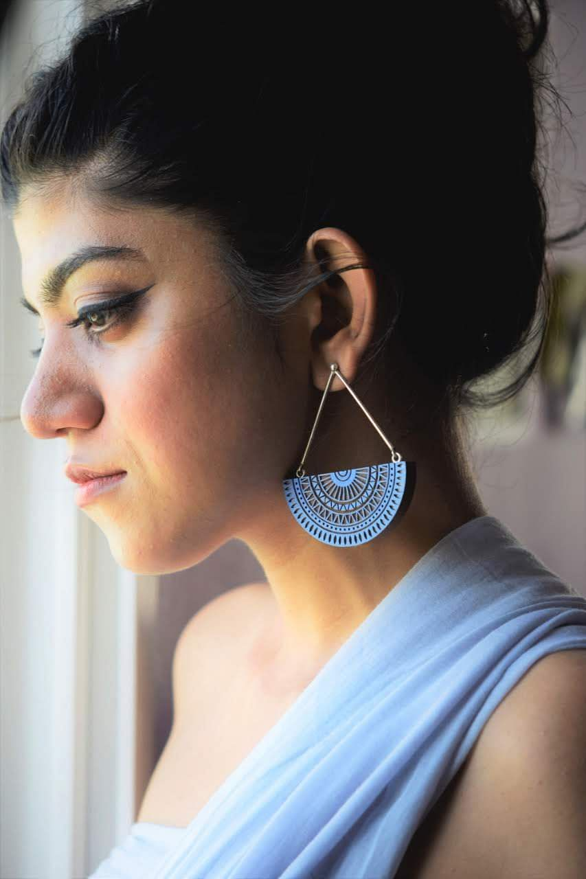 Blue engraved wooden earring
