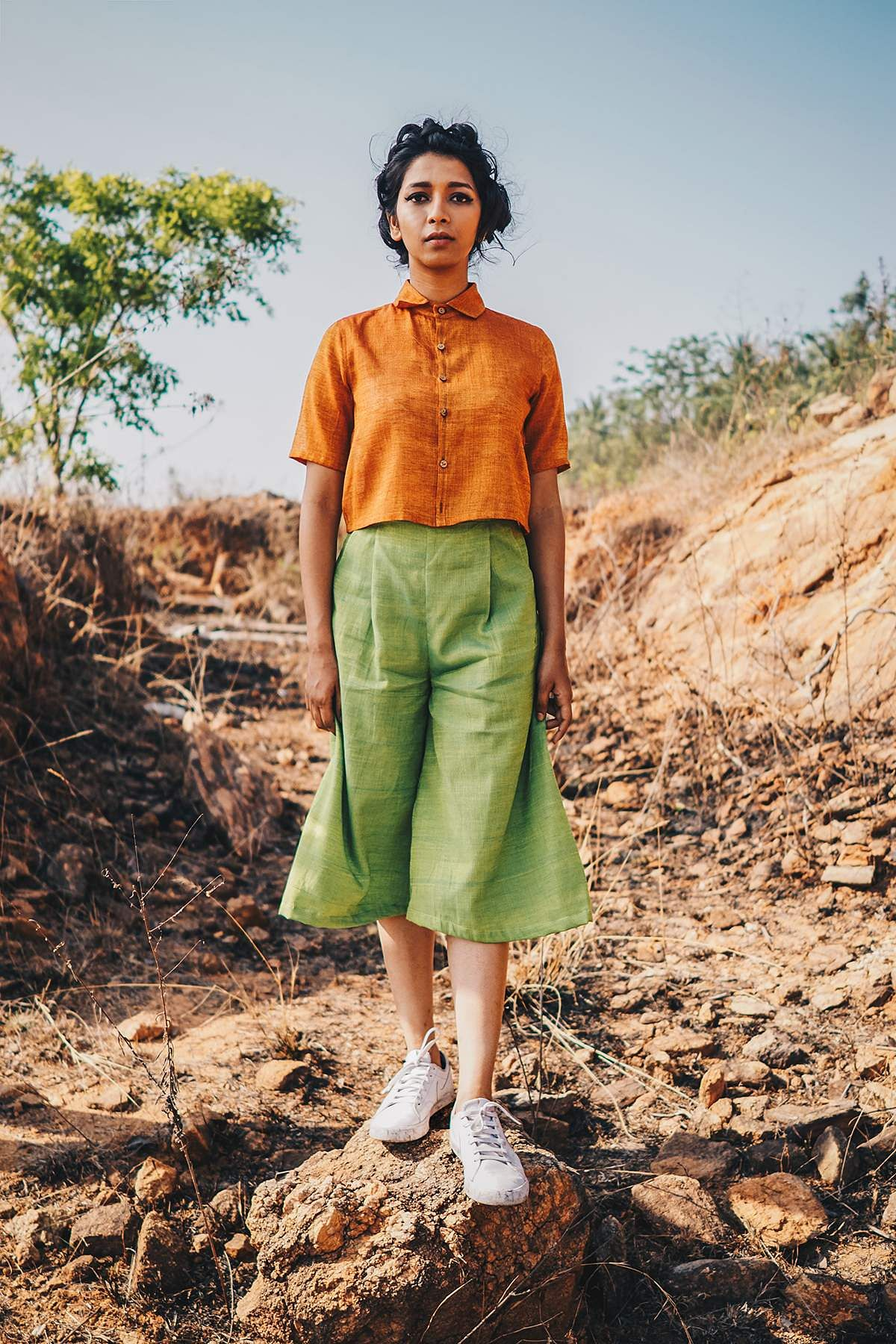 Orange crop shirt and Green culottes