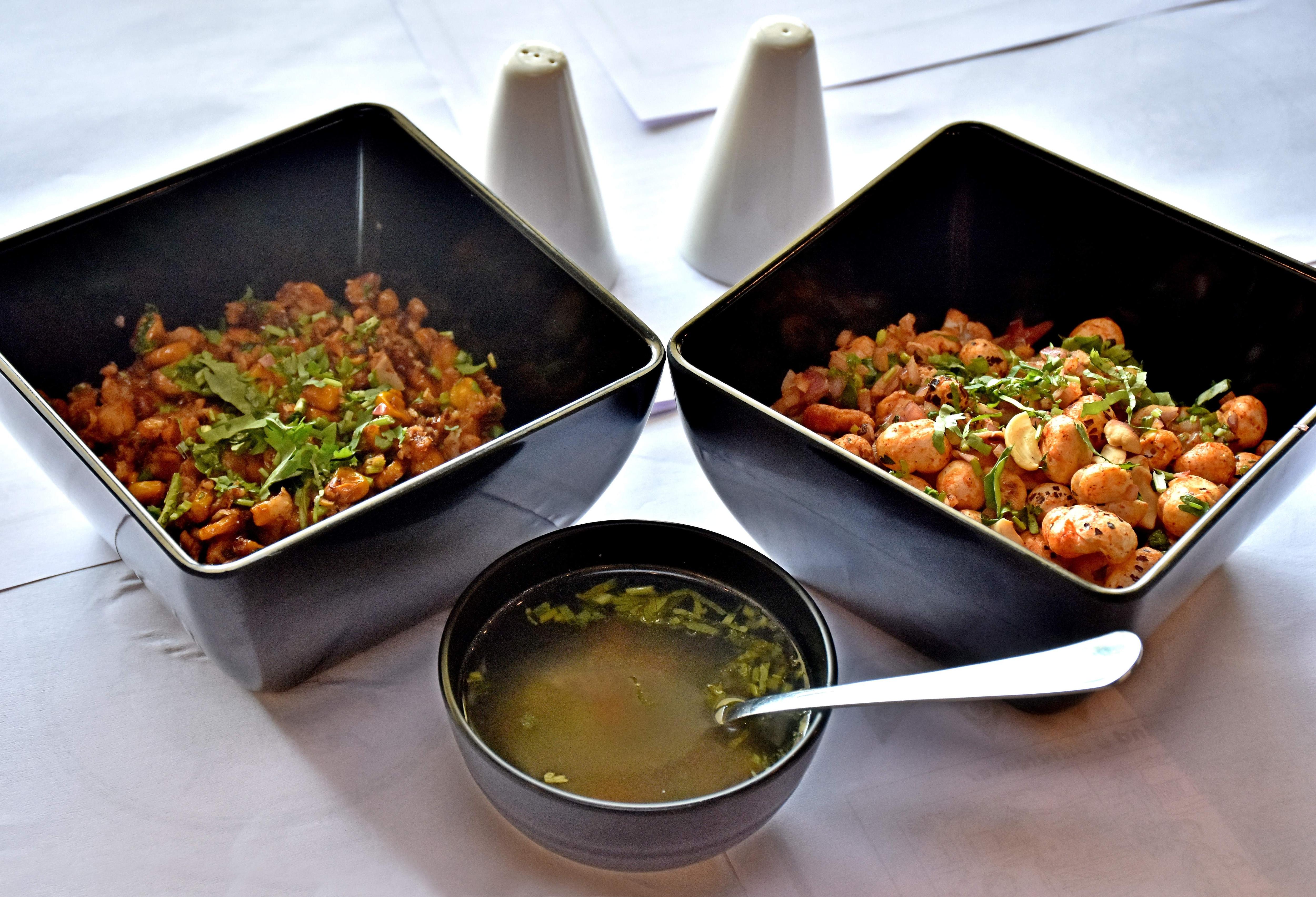 Lemon coriander soup, Majana chaat and Oriental crispy corn