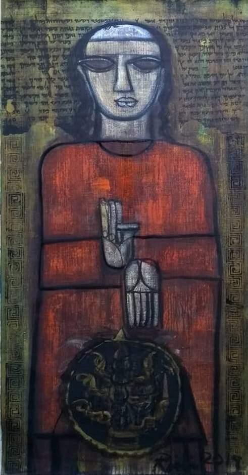 Rini Dhumal, oil on canvas (Source: Triveni Kala Sangam)