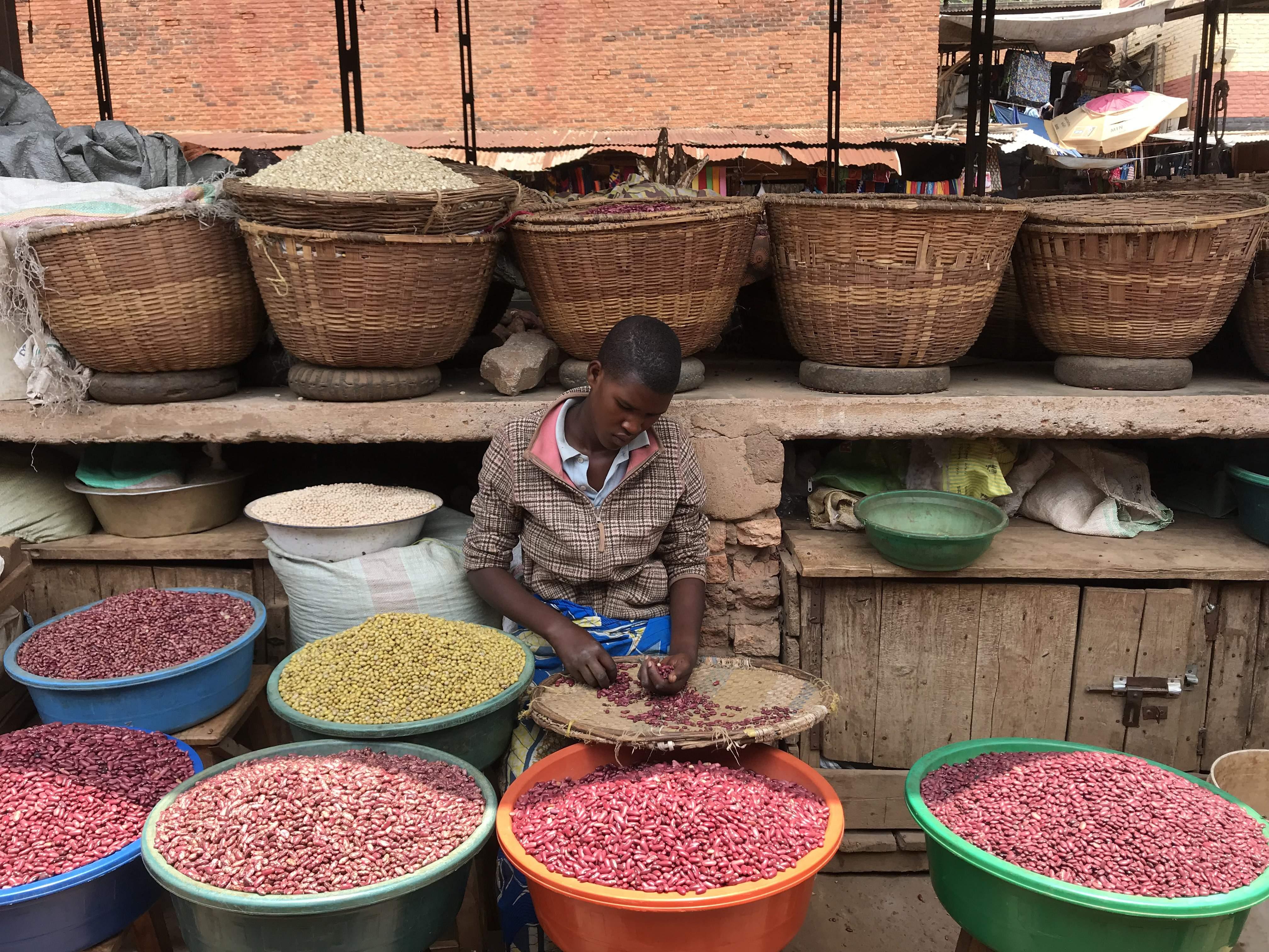 Multi-coloured beans at Kimironko Market