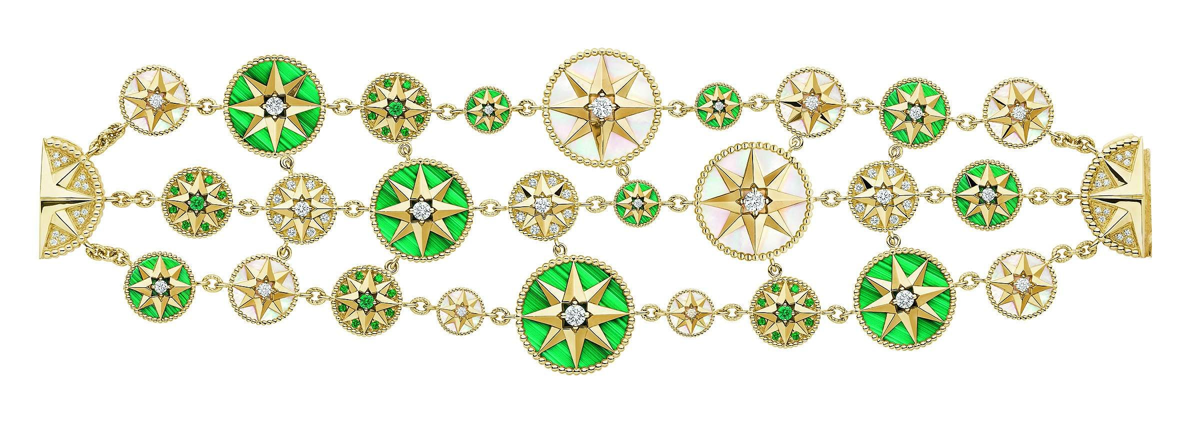 Rose des Vents Masterpiece bracelet with yellow gold, diamonds, emeralds, malachite and mother-of-pearl