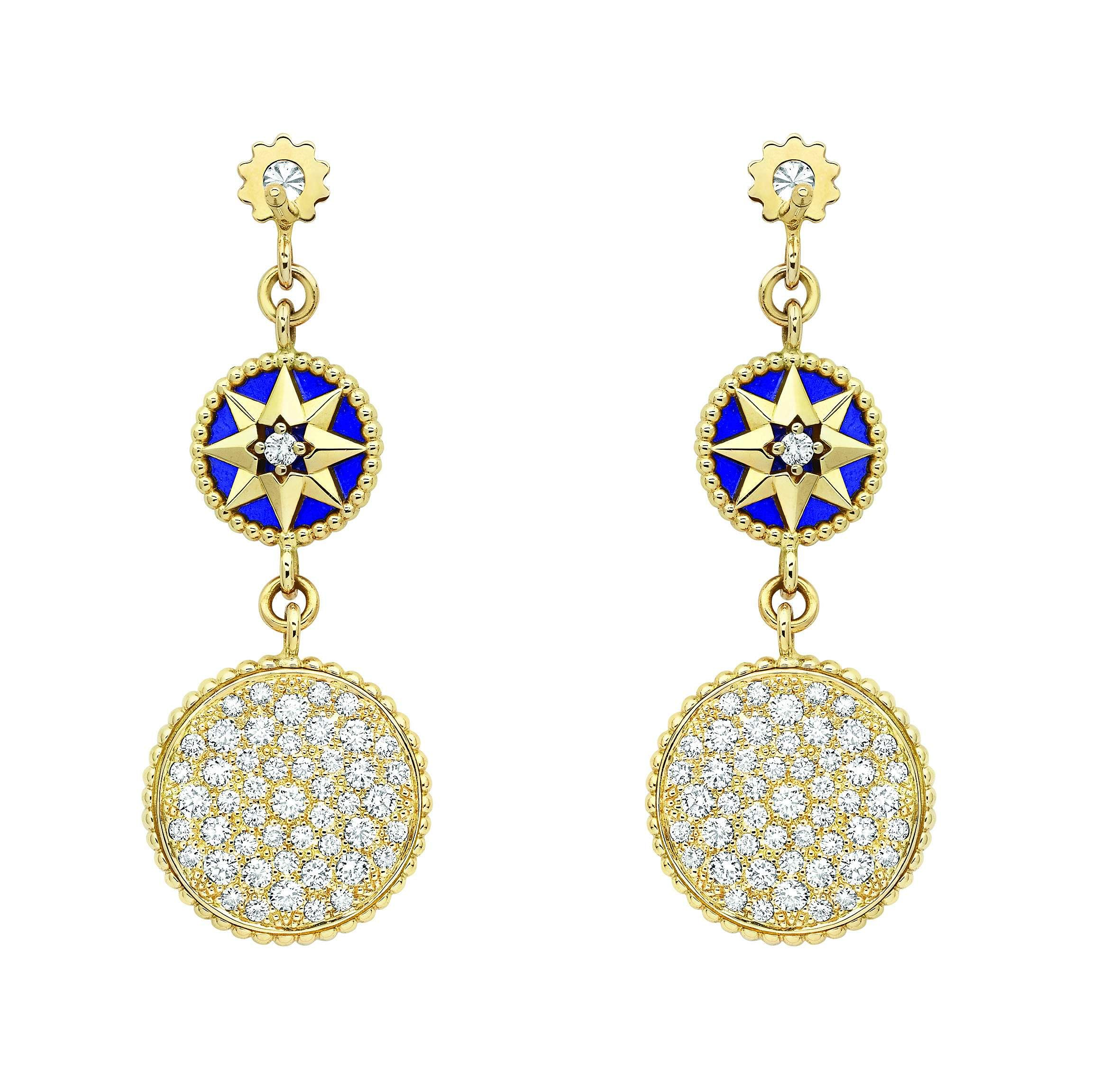 Rose des Vents earrings with yellow gold, diamonds and lapis lazuli
