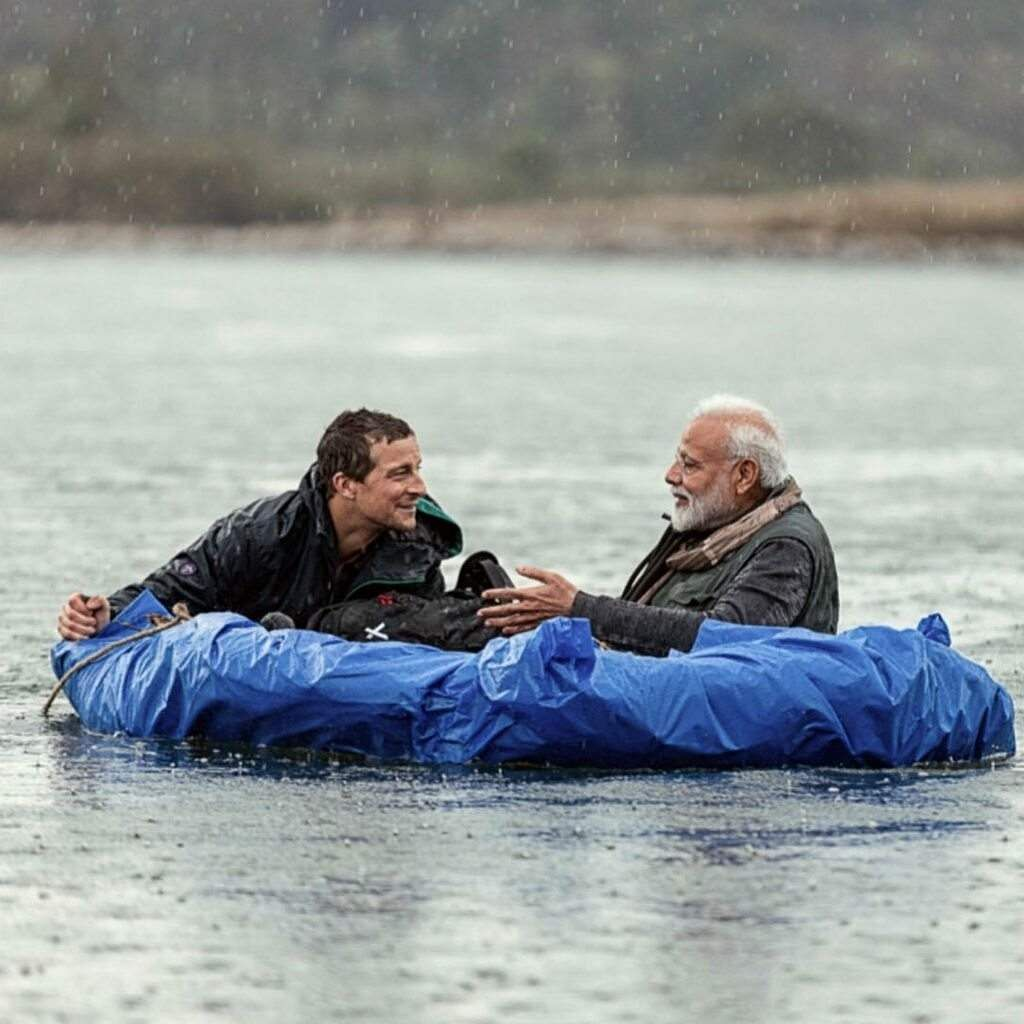 Grylls with PM Modi