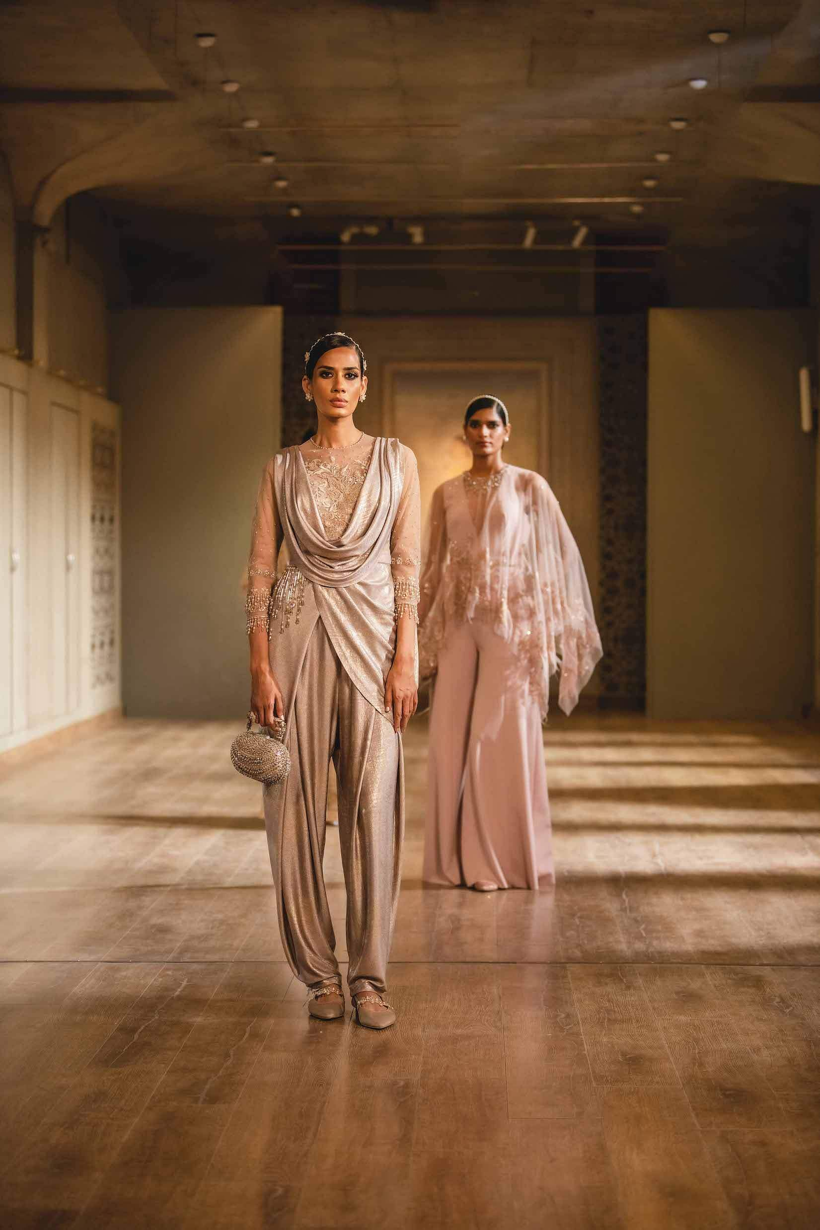 A draped jumpsuit from the Pieces of You collection