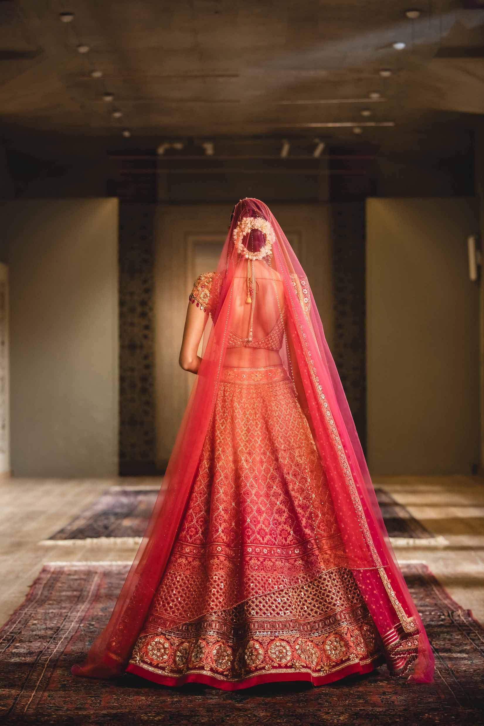 Tulle lehenga with grid textured blouse and dupatta