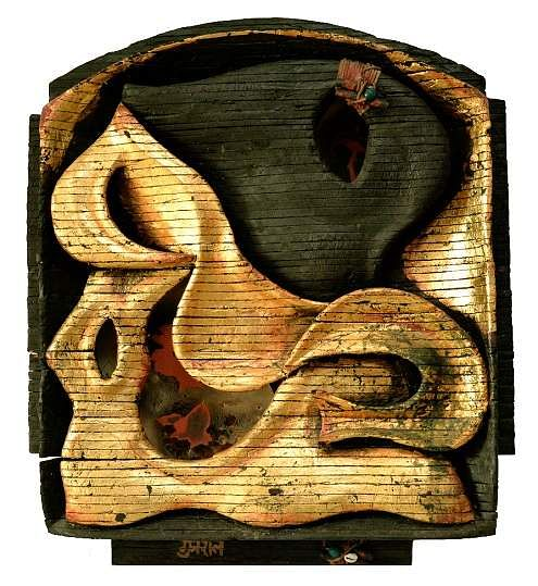 Untitled, wood leather and nail on board by Satish Gujral