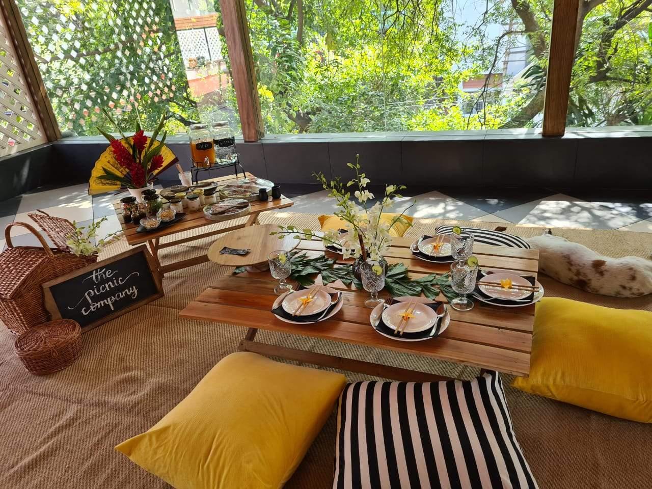 picnic set up themed restaurant