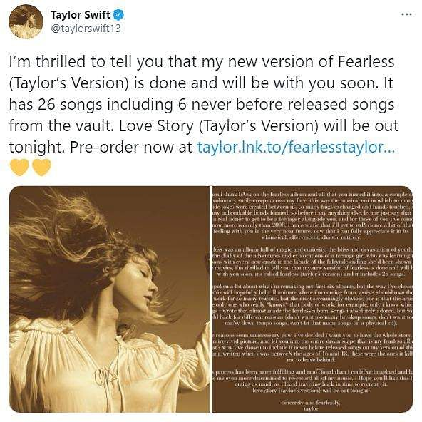Taylor Swift's new version of Love Story and Fearless