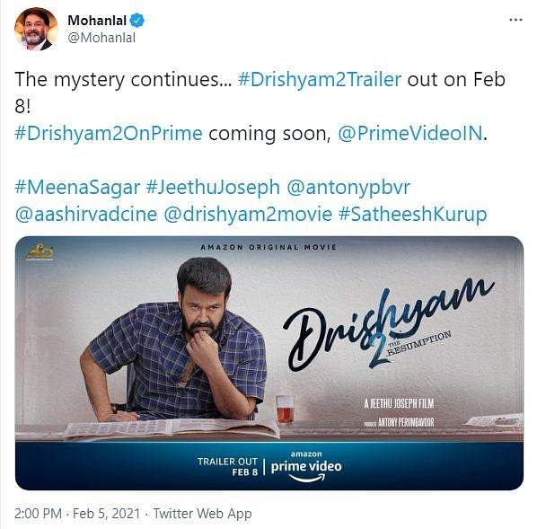 Mohanlal's tweet on Drishyam 2 trailer release