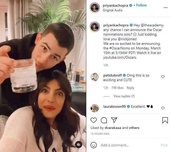 Priyanka Chopra Jonas, Nick Jonas to announce Oscar award nominations on March 15