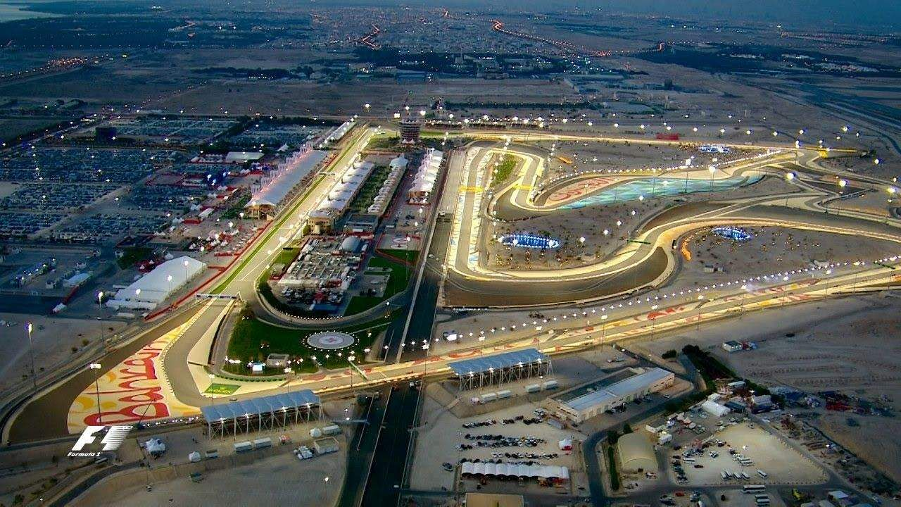 An aerial view of the live telecast of F1 from Bahrain