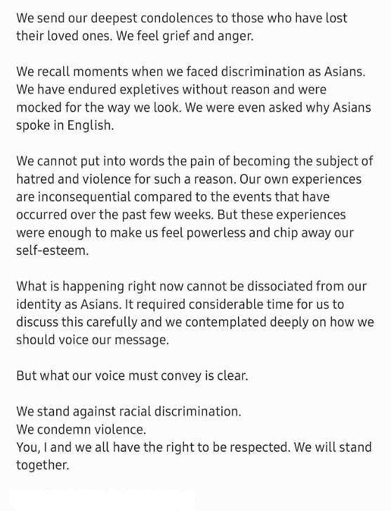 BTS' post on hate crimes against Asians