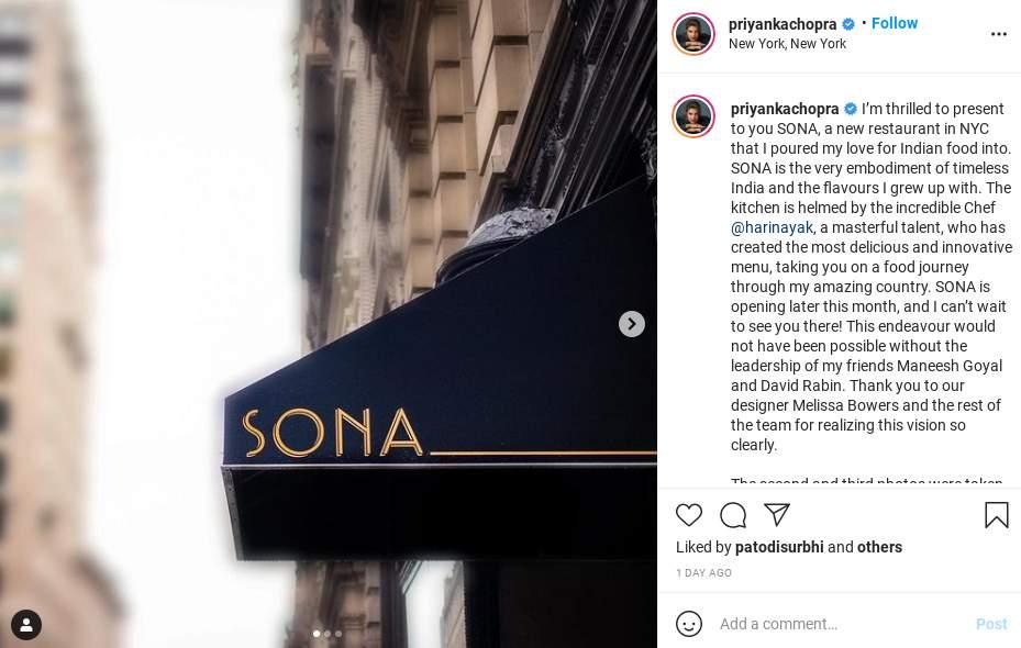 Priyanka Chopra Jonas' new restaurant Sona with Indian cuisine