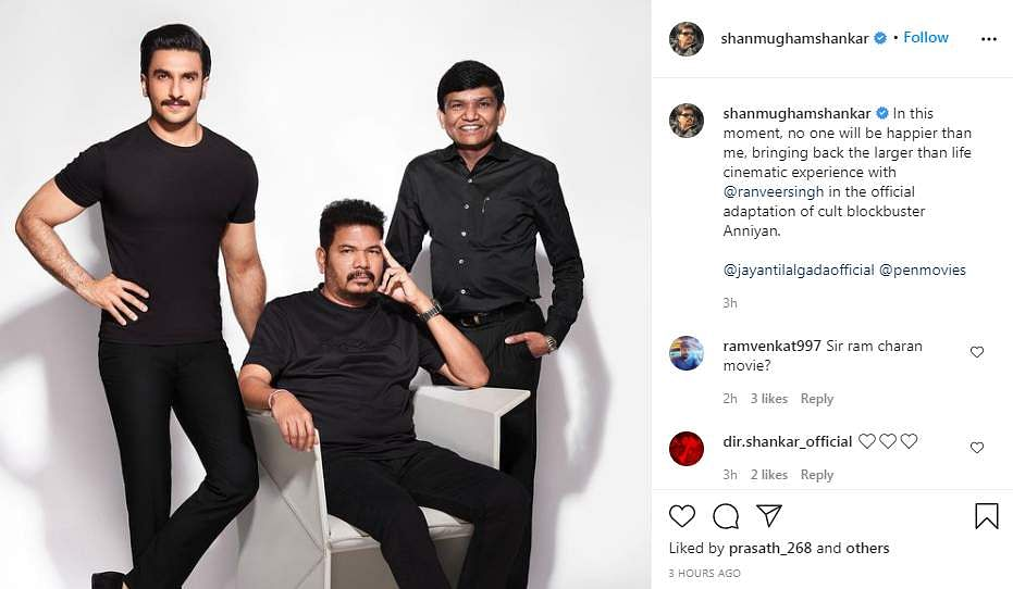 Director Shankar to make Hindi remake of Anniyan with Ranveer Singh
