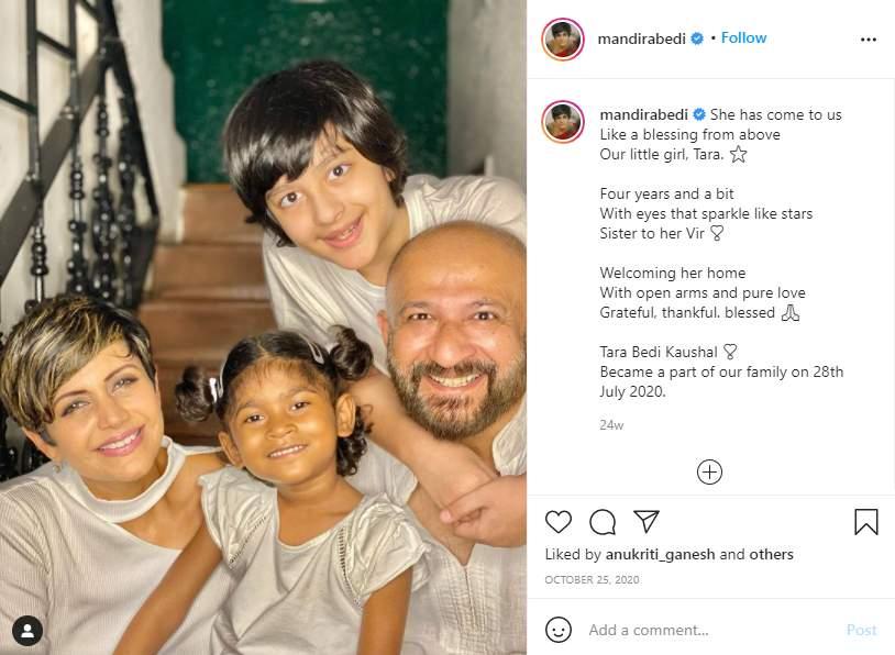 Mandira Bedi with her husband Raj Kaushal, son Vir and daughter Tara