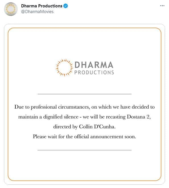 After Kartik Aaryan stepped down, Dharma Productions said they would be recasting Dostana 2