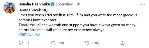 Genelia Deshmukh's tweet on Tamil actor-comedian Vivekh who passed away