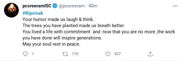 PC Sreeram's tweet on Tamil actor-comedian Vivek who passed away