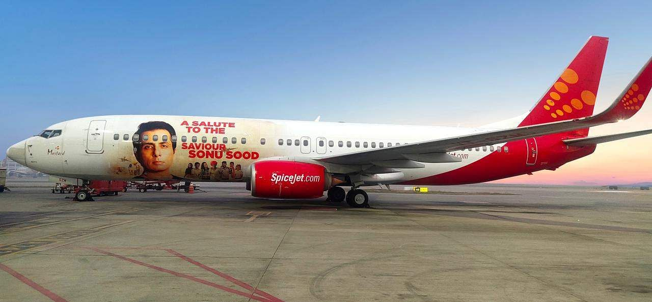 SpiceJet unveiled its Boeing 737 aircraft with an image of Sonu Sood wrapped on it.