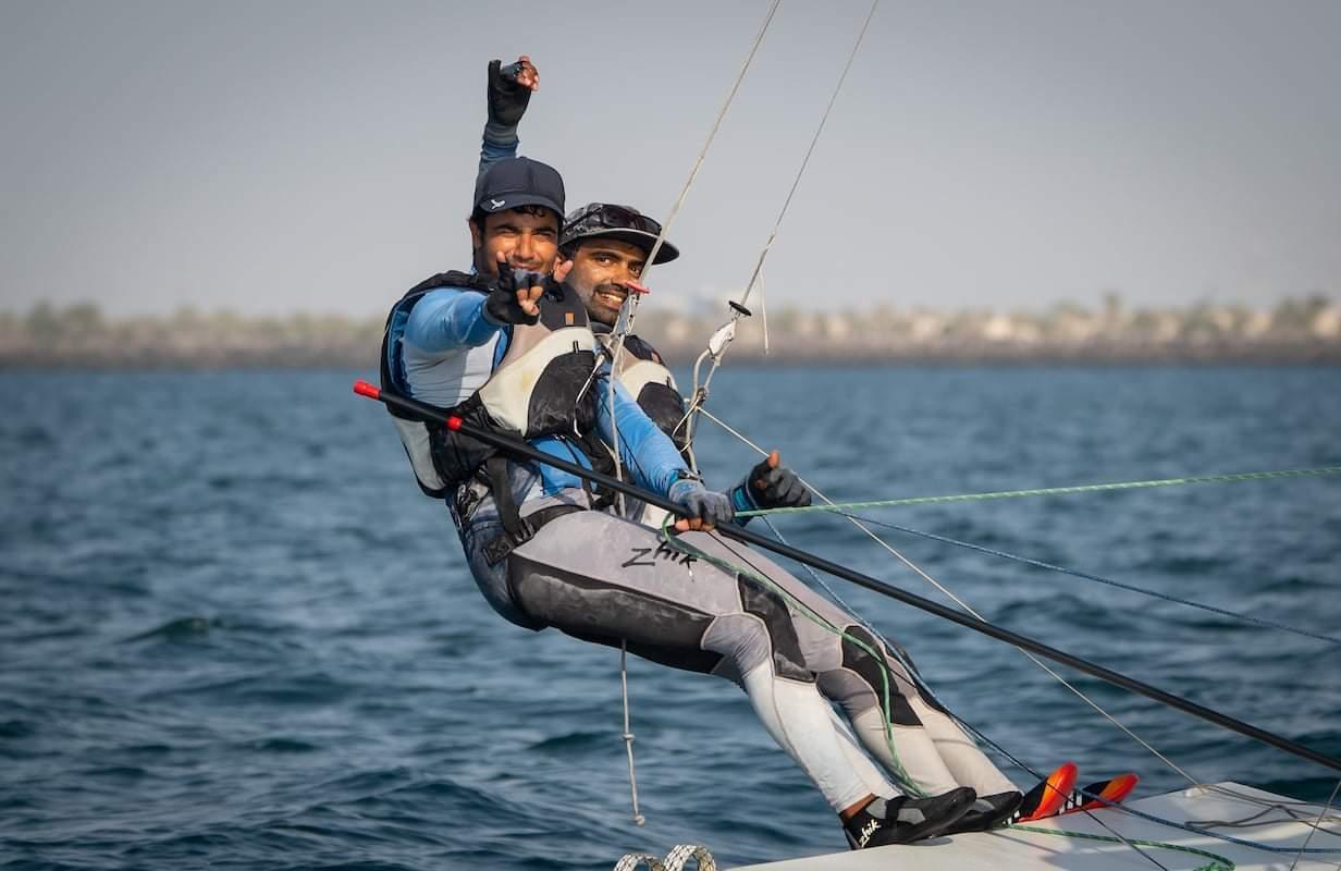 Varun Thakkar & Ganapathy Chengappa sailing 49er  class - on two-handed skiff