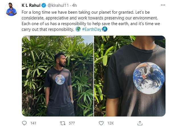 KL Rahul on Earth Day