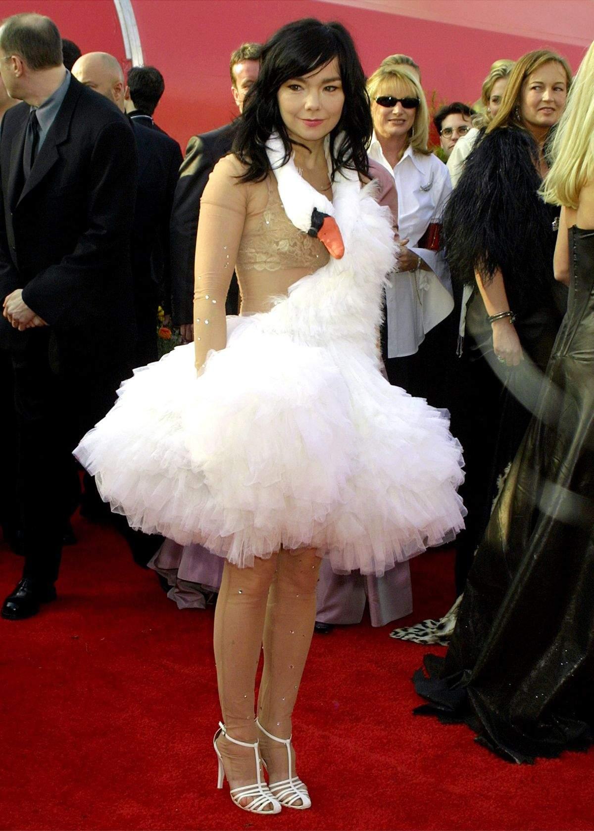 Bjork wearing a Swan dress for the Oscars