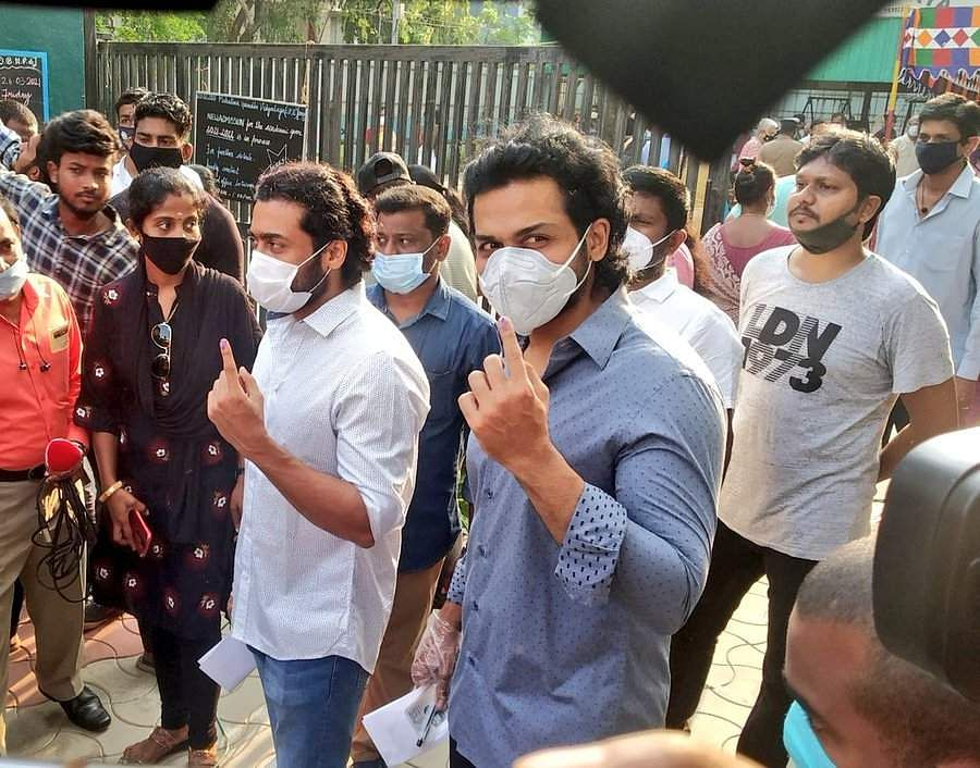 Tamil Nadu elections: Actor Suriya casts his vote with Karthi and Sivakumar