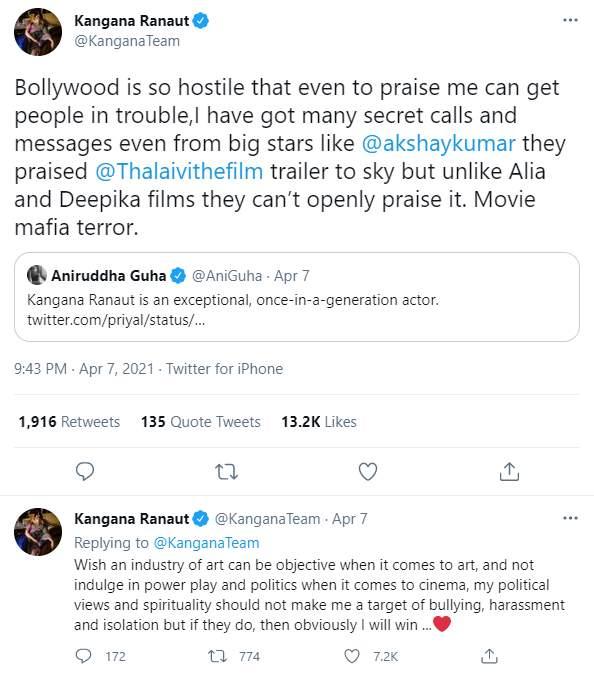 Kangana Ranaut's tweet on secret praises for Thalaivi trailer