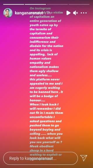 Kangana Ranaut takes a dig at Instagram