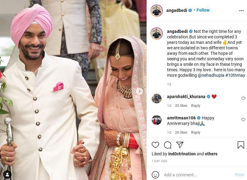 Angad Bedi wishes Neha Dhupia on their wedding anniversary