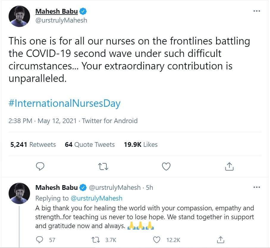 Mahesh Babu wishes on International Nurses Day