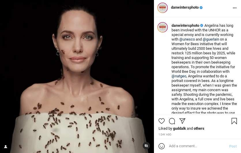 Angelina Jolie in a photoshoot with bees on her