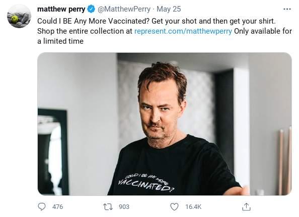 Friends Star Matthew Perry COVID-19 t-shirt