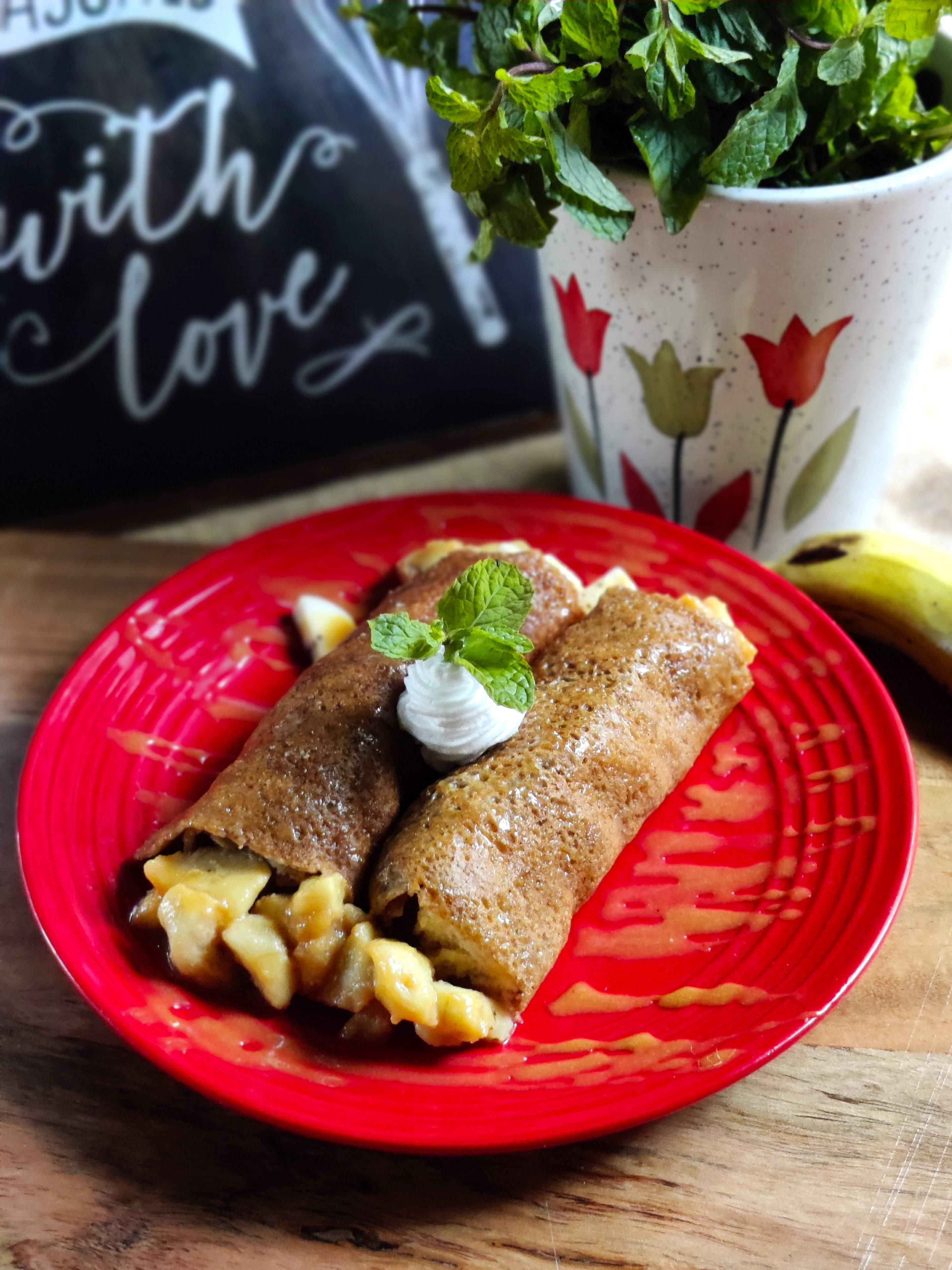 Multigrain & Jaggery caramelised banana pancakes