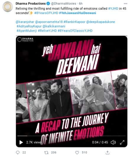 8 years of Yeh Jawaani Hai Deewani