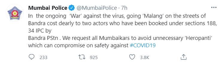 Mumbai Police tweets about Tiger Shroff, Disha Patani