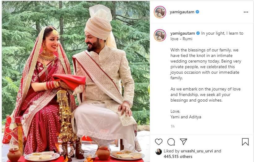 Yami ties the knot with Aditya Dhar