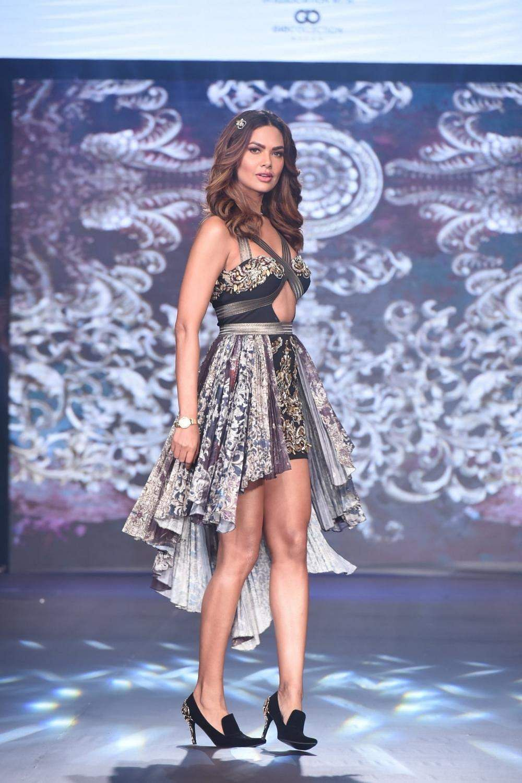 Actress Esha Gupta walks the ramp for designer Rocky S during India Beach Fashion Week in Goa