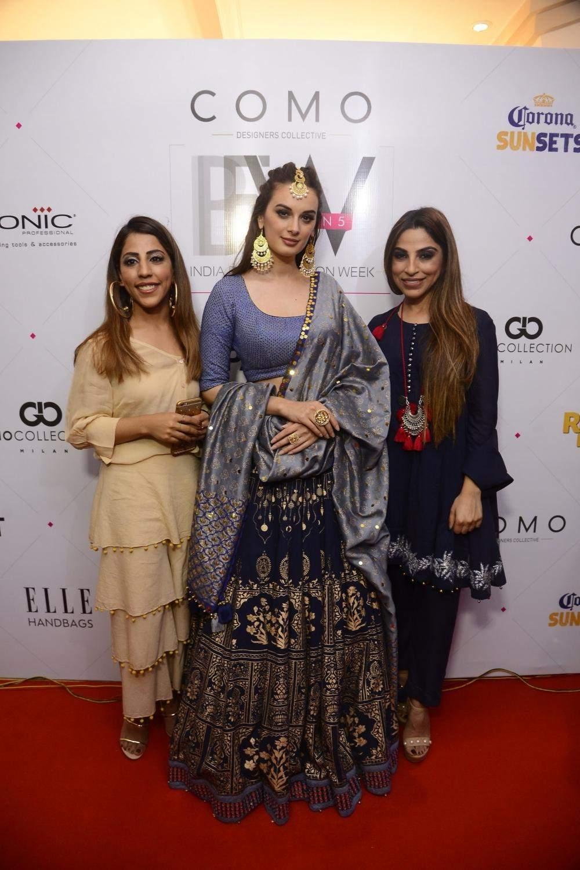 Actress Evelyn Sharma with designers Sukriti Aakriti at the India Beach Fashion Week in Goa