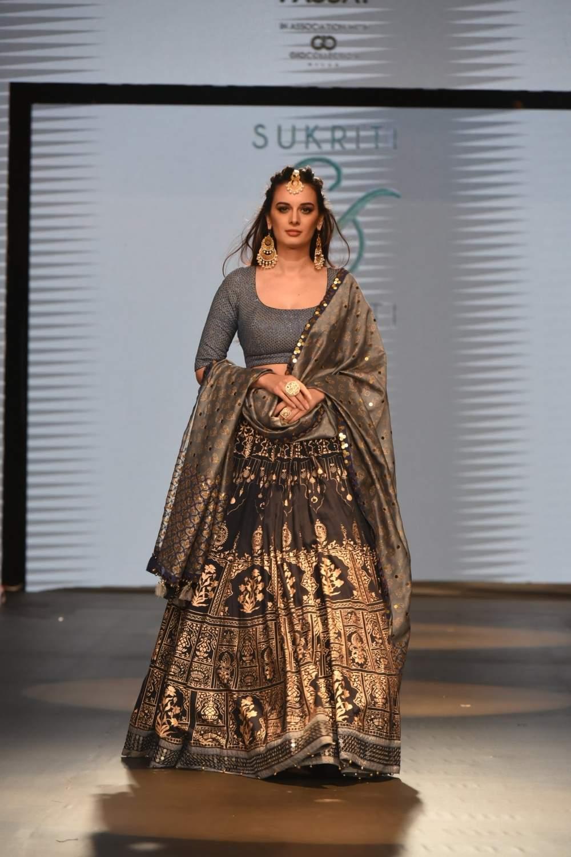 Actress Evelyn Sharma walks the ramp for designers Sukriti Aakriti at the India Beach Fashion Week in Goa