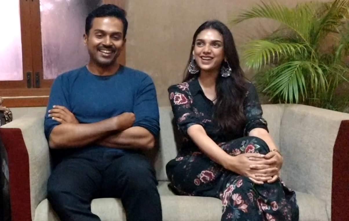 Karthi and Aditi Rao Hyadri