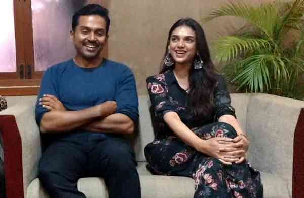 Karthi and Aditi Rao Hyadri