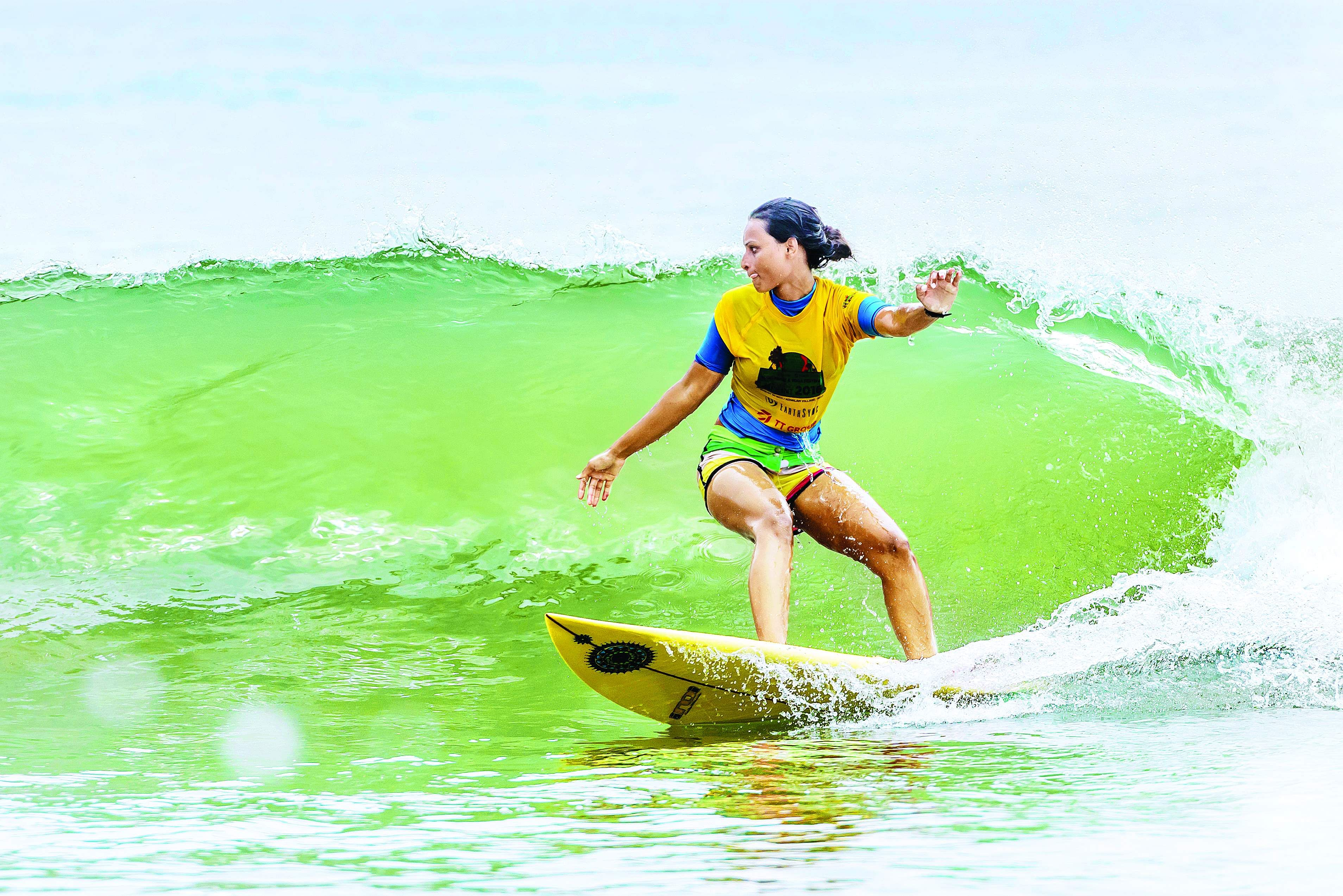 Surfer Suhasini Damian (Pic by Yotam Agam)