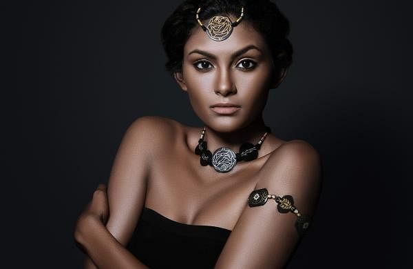 Model Amrita James wearing pieces from Zola's Bidri Collection. Pic: AR Sumanth Kumar