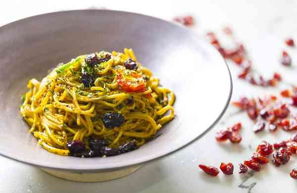 Red Rice Noodles and Cranberry Pesto