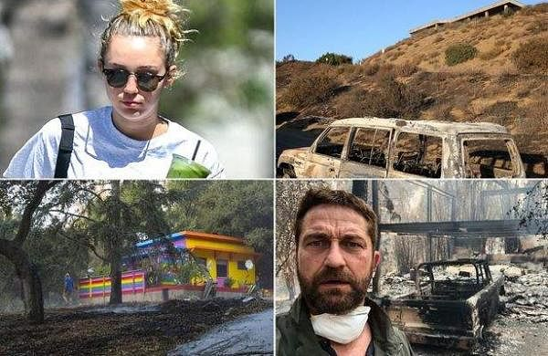 Hollywood celebrities Miley Cyrus, Gerard Butler among celebrities who lost homes in California wild