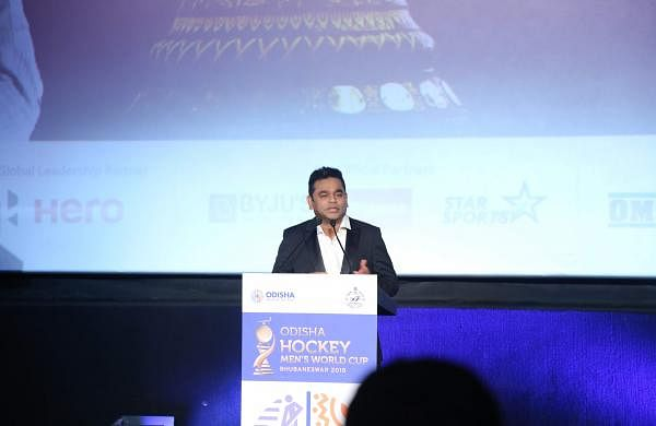 AR Rahman launches the hockey anthem for the Odisha Hockey Men's World Cup