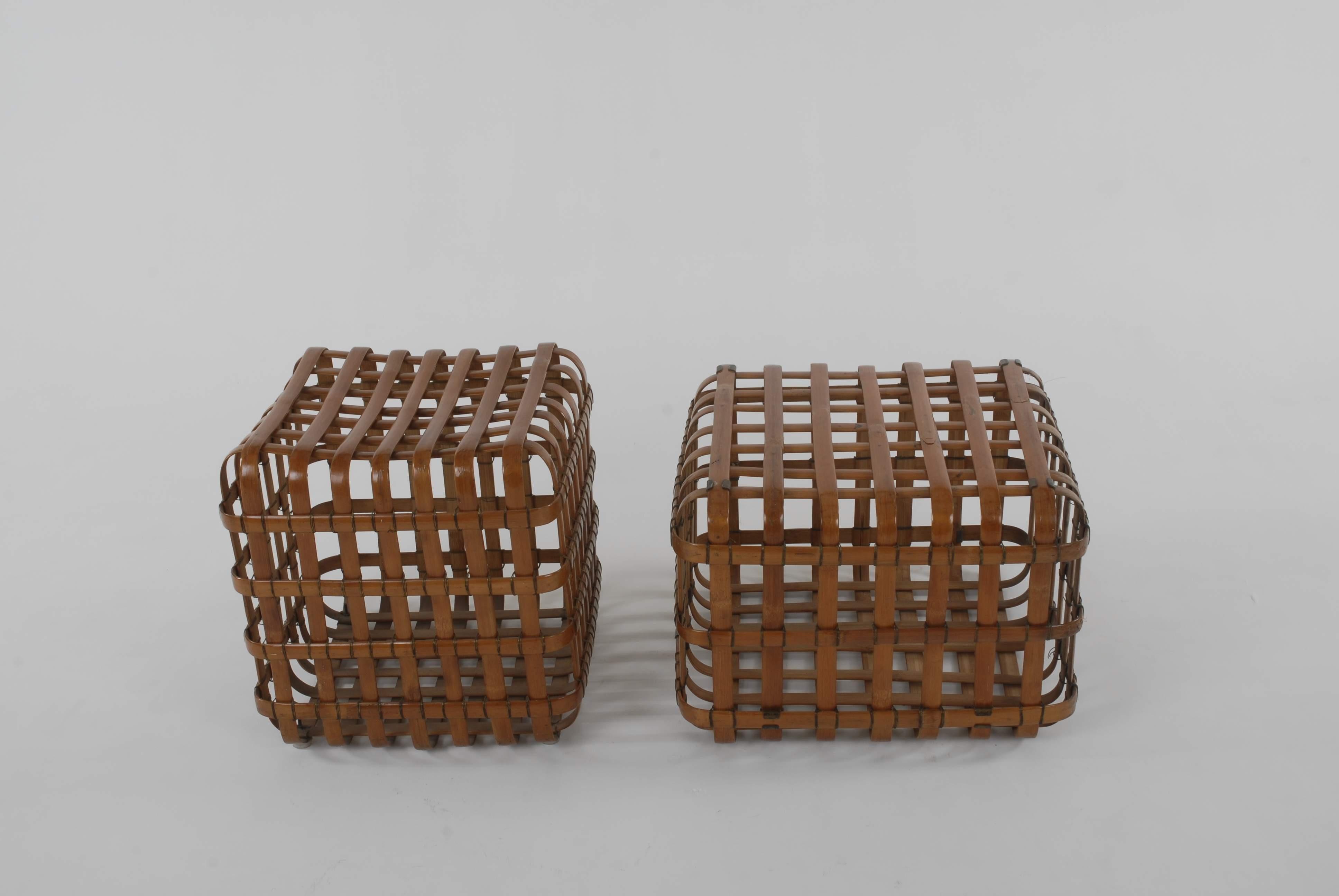 Bamboo Cube Stools by MP Ranjan