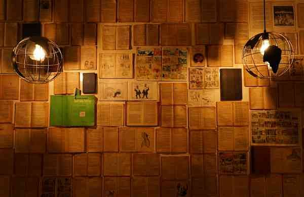 The book wall at the #Stories Library-Cafe in KK Nagar, Chennai